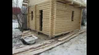 Деревянный дом. Оцилиндрованное бревно Wooden house. Round logs(Построен дом на винтовых сваях. Дом из оцилиндрованного бревна. Возводим ленточные, монолитные, свайно-вин..., 2013-03-17T12:40:40.000Z)
