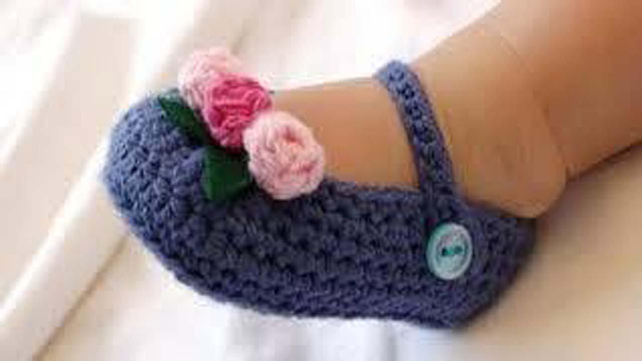 Crochet Tutorial Zapatitos Bebe Escarpines : Zapatos de bebe tejidos a crochet dos agujas aplicacion - YouTube