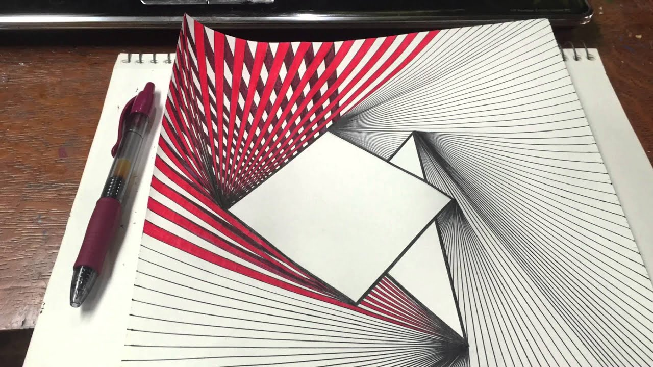 Red Shapes & Lines Abstract Drawing