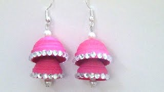 How to make Paper Quilling Earring Double layer Jhumka Tutorial