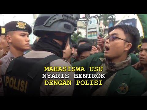 Mencekam, Mahasiswa USU Nyaris Bentrok dengan Polisi saat Demo Kenaikkan BBM