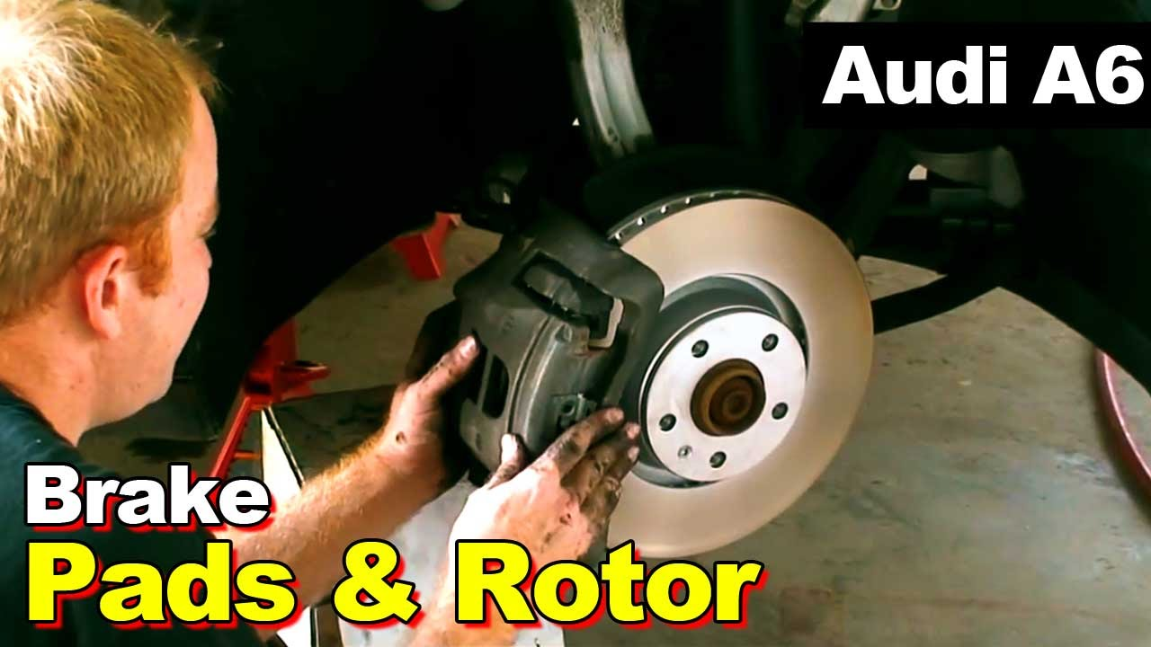 2008 Audi A6 Front Brake Pads And Rotor Youtube