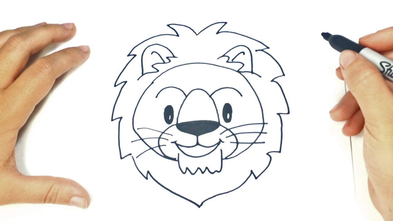 how to draw a lion head lion head easy draw tutorial