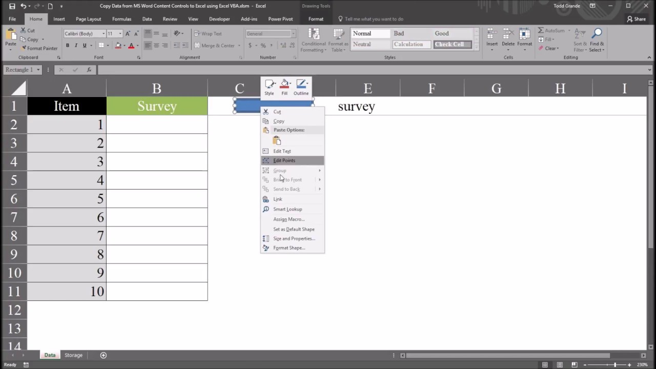 Copy Data from Microsoft Word to Excel using Excel VBA