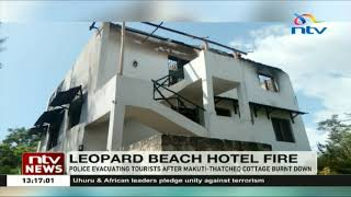 Police evacuate tourist from the Leopard beach hotel after a fire broke out
