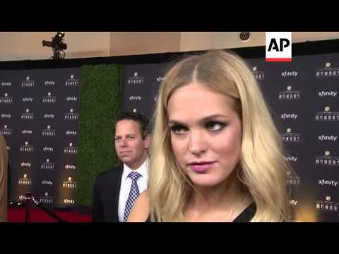 Victorias Secret Angel Erin Heatherton talks football before NFL Honors, Aaron Rodgers arrives with