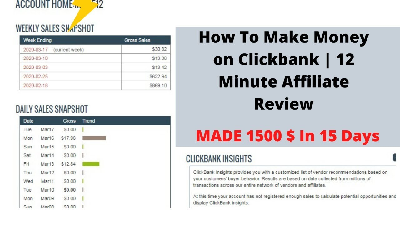 How To Make Money on Clickbank GET AMAZING PROFITS  12 Minute Affiliate Review   1500   In 15 Days