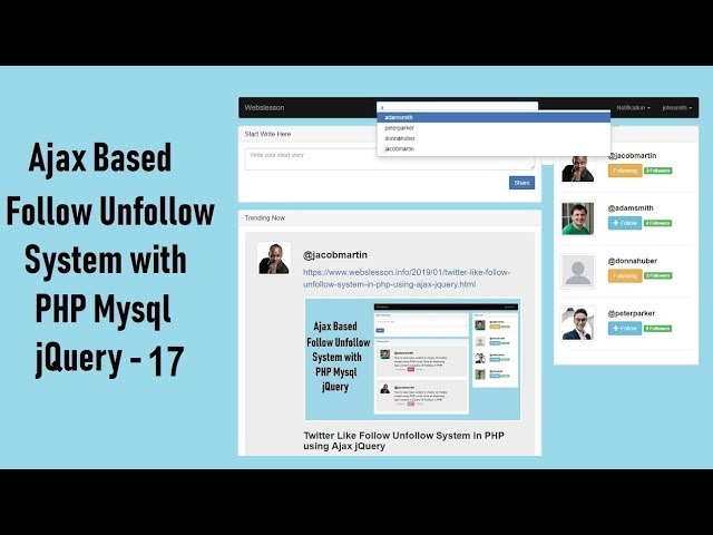 Ajax Based Follow Unfollow System with PHP Mysql jquery - 17