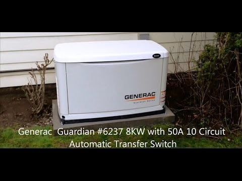 Generac Guardian 8 KW with Automatic Transfer Switch Review / Operation