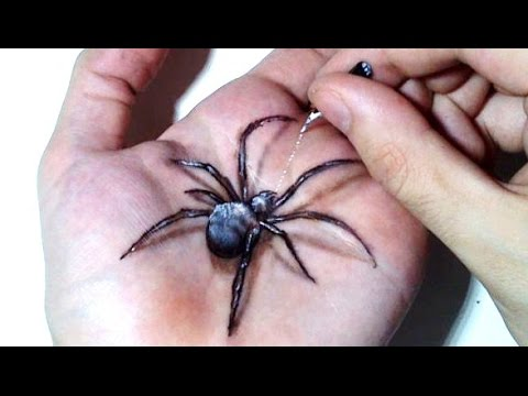 Hand Art 3D, Hideous Spider Drawing!