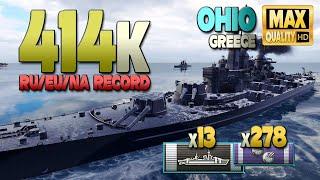 Линкор Ohio, рекорд RU, урон 414к - World of Warships