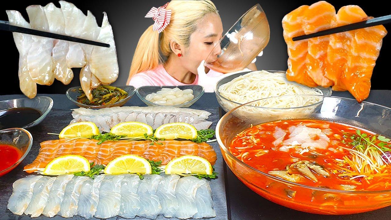 [Mukbang] COLD RAW FISH SOUP SEAFOOD 시원한 물회에 소면 말아서 먹방🍜 광어,연어,우럭 모둠회🐟salmon sashimi ASMR | 쎄미