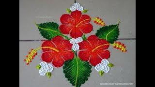 Easy Hibiscus flower rangoli | Easy rangoli designs by Poonam Borkar