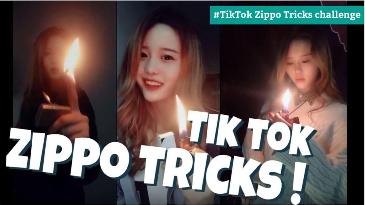 【Tik Tok】 Zippo Tricks #cute girls playing with fire