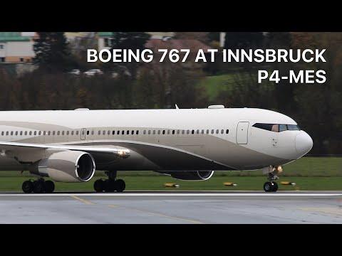 "▶ Roman Abramovich ""The Bandit"" Boeing 767-300ER [P4-MES] arrival at Innsbruck"