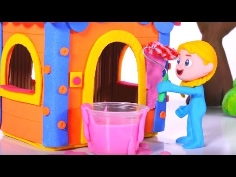 LITTLE PRINCESS IS PAINTING THE PLAYHOUSE 鉂� PLAY DOH CARTOONS FOR KIDS