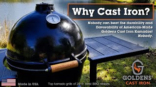 Goldens' Cast Iron BBQ Kamado Grill - Smoker Cooker and Recipes!