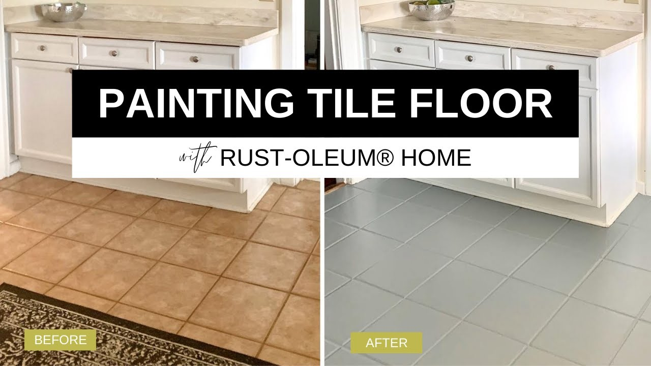 painting my ugly kitchen tile floor with rust oleum rocksolid home floor paint tutorial