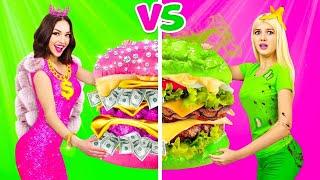 RICH PINK VS BROKE GREEN FOOD CHALLENGE    Color Battle Rich vs Poor Girl! Taste Test by RATATA