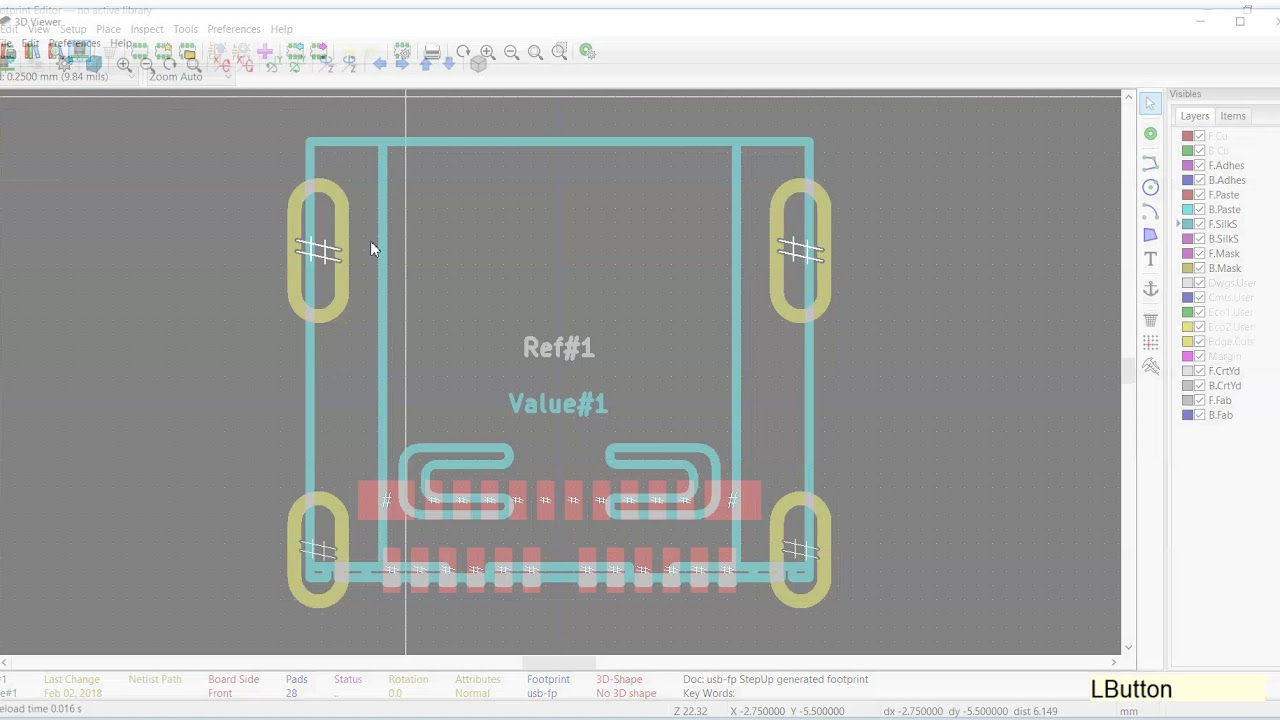 generating a kicad footprint from a 3D STEP model