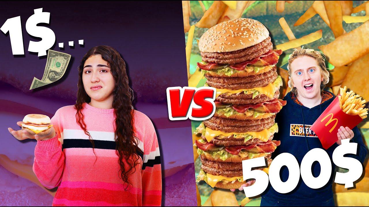 Download $1 vs $500 Mcdonalds budget challenge for 24 HOURS!