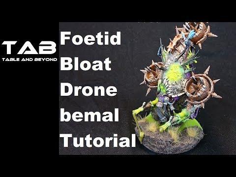 Foetid Bloat Drone bemalen Base gestaltung - Airbrush - paint Tutorial - Warhammer40k Tab
