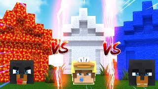 Minecraft LAVA HOUSE VS WATER HOUSE VS ICE HOUSE CHALLENGE - WHO'S HOUSE WILL LAST THE LONGEST????