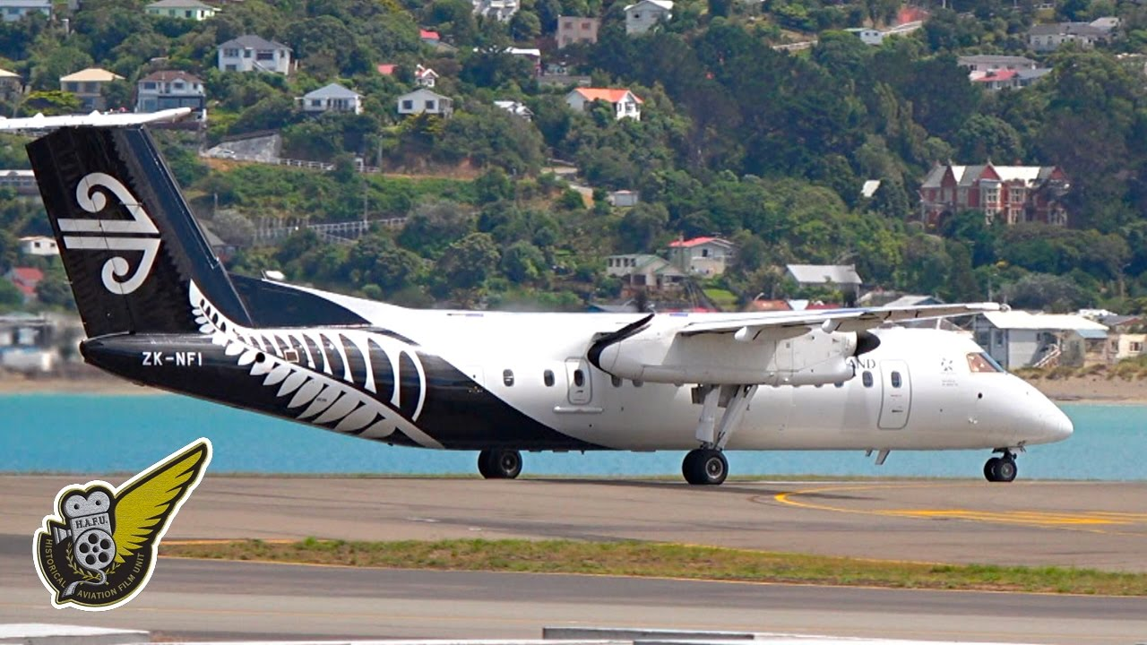 Airliners Airnz Dash 8 Takeoff From Wellington Airport Zk Nfi