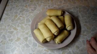 Пирожки - рулетики с капустой (постные)