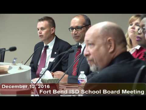 December 12, 2016 FBISD School Board Meeting Part 1