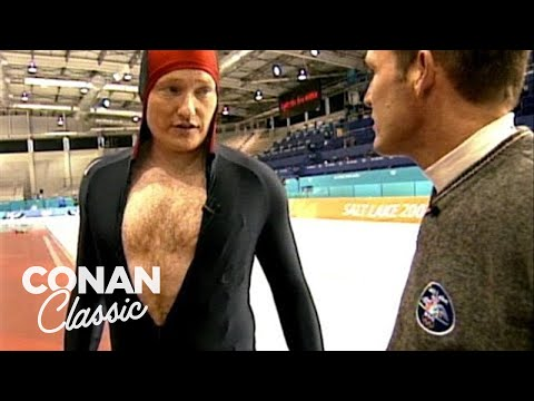 Conan Learns How To Speed Skate At The 2002 Olympics -