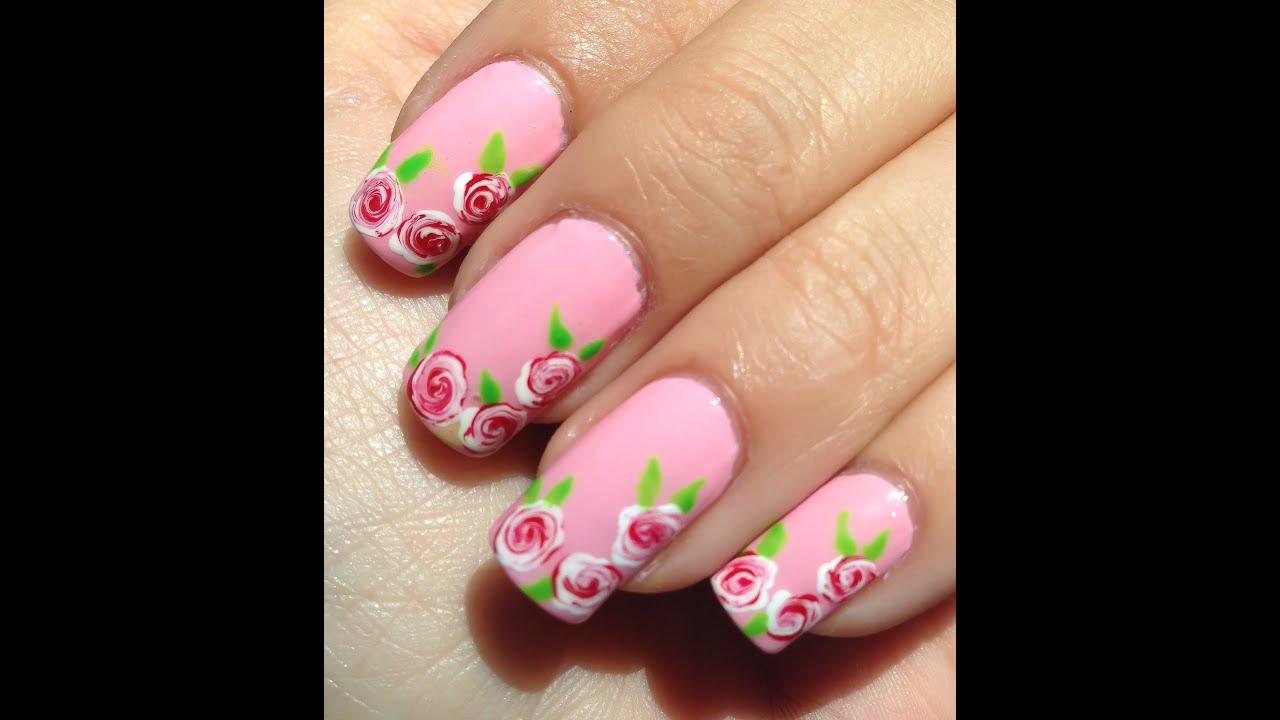 Facil Diseño De Uñas Con Rosas Blancas Y Rojas Youtube