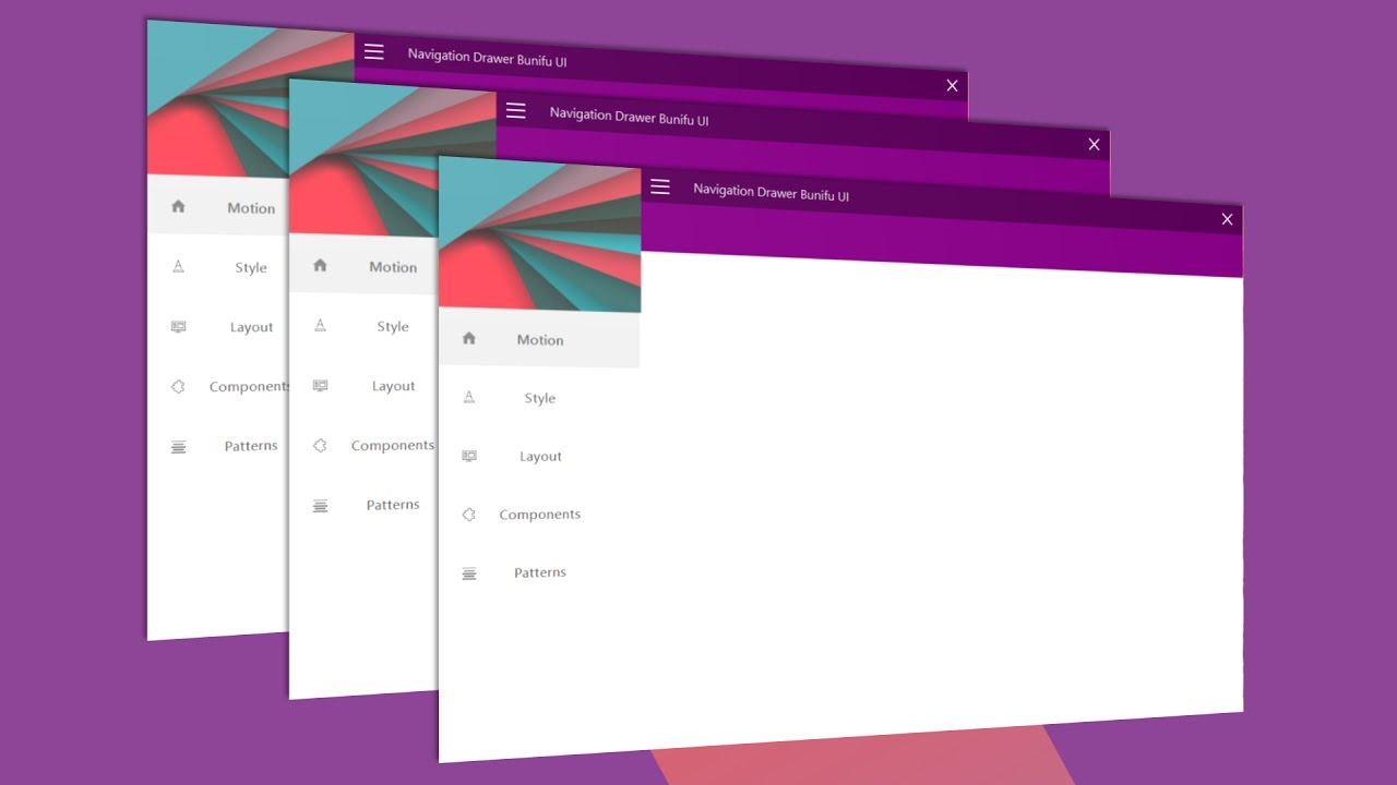 Material Design Animated Drawer Menu in Winforms c#  Net With Bunifu UI