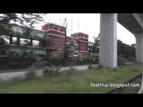 นั่งรถไฟสายตะวันออก ผ่านมักกะสัน อโศก East bound train leaving Bangkok