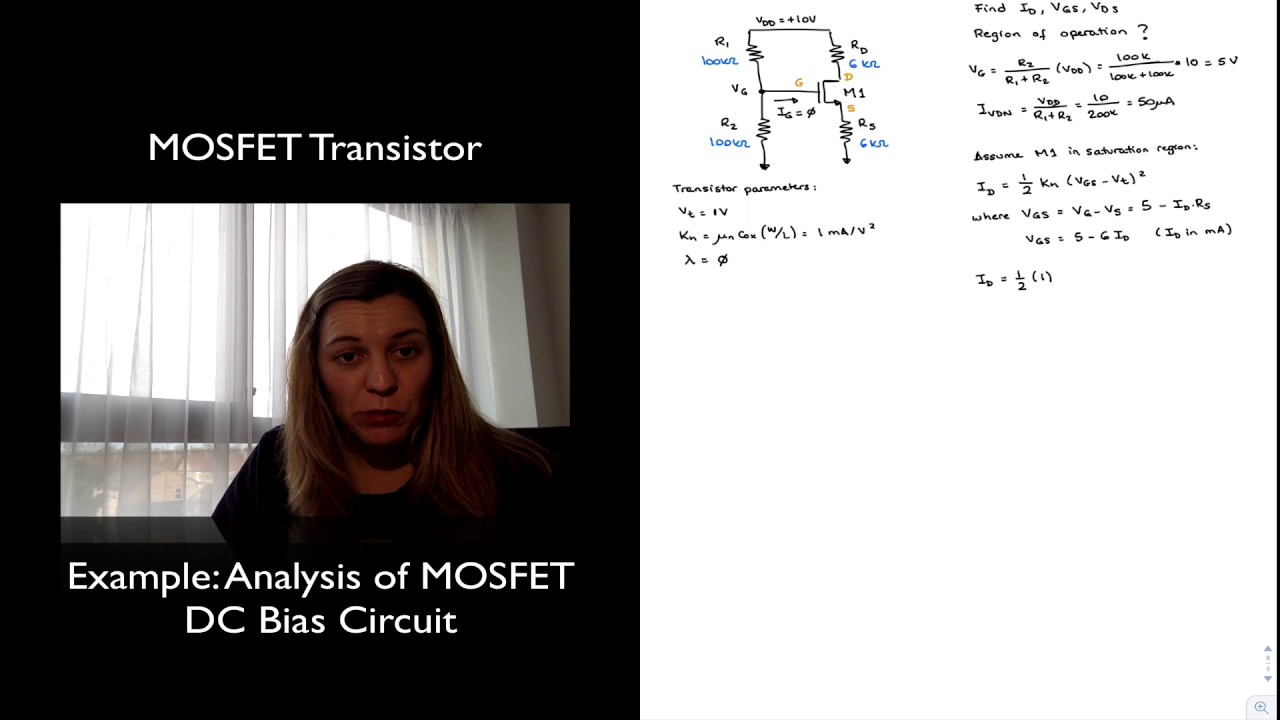 Mosfet Circuit Example Transistor Dc Analysis Youtube