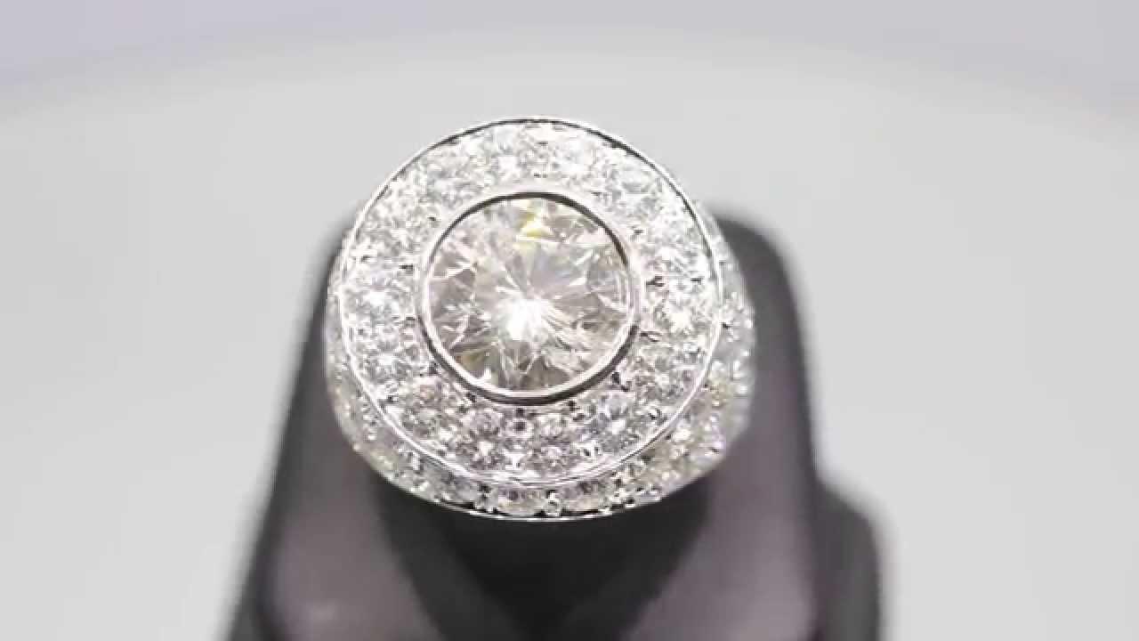 Men\'s 18K Solid White Gold Custom Diamond Ring 22.04 Ctw