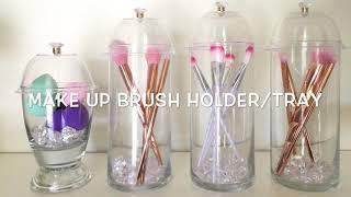 Dollar tree DIY/ Make up brush holder / Glam vanity tray