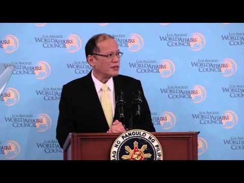 Philippines President Benigno S. Aquino III speaks to the Los Angeles World Affairs Council Feb 16