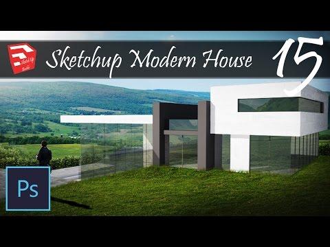 SketchUp Modern House 15 - Speedbuild Inpiration - Render + Design - Photoshop