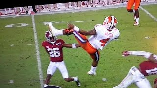 CLEMSON QB WATSON GETS SPUN AROUND BY ALABAMA HIT!!! OUCH!!!
