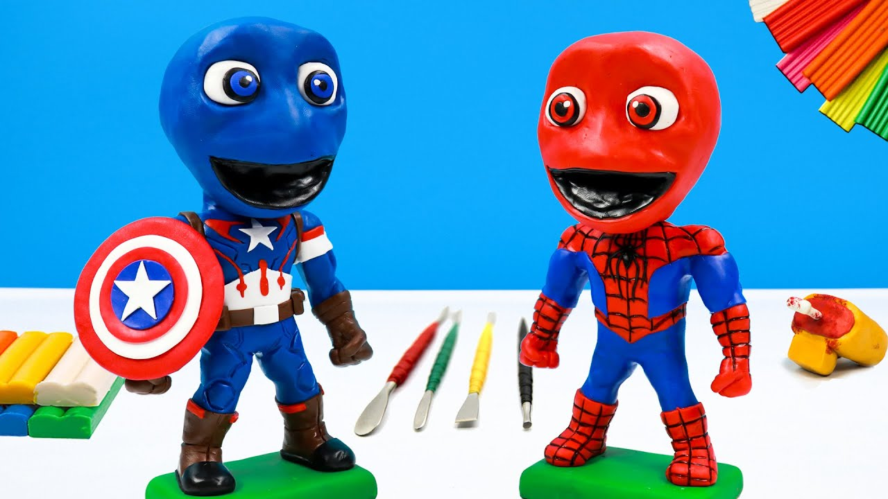 Download Making Dame Tu Cosita mixed Spiderman and Captain America with clay 👽 Polymer Clay Tutorial
