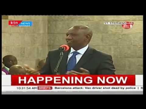 Deputy president, William Ruto address guests at Mzee Jomo Kenyatta's memorial service