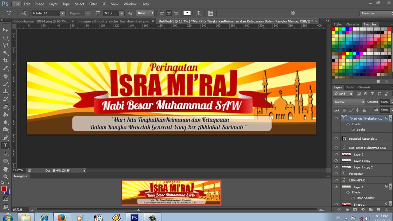 Cara Desain Spanduk Isra Miraj Dengan Photoshop Difourty Banner