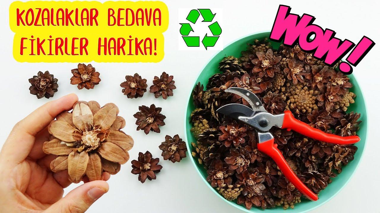 KOZALAKLAR HİÇ BU KADAR GÜZEL OLMAMIŞTI! (Kozalaktan Efsane 3 Dönüşüm) Recycling Of Pine Cone / DIY