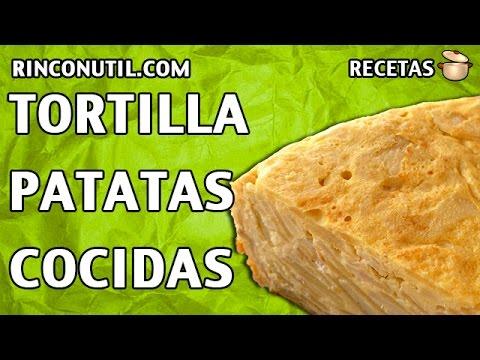 tortilla de patatas con patatas cocidas
