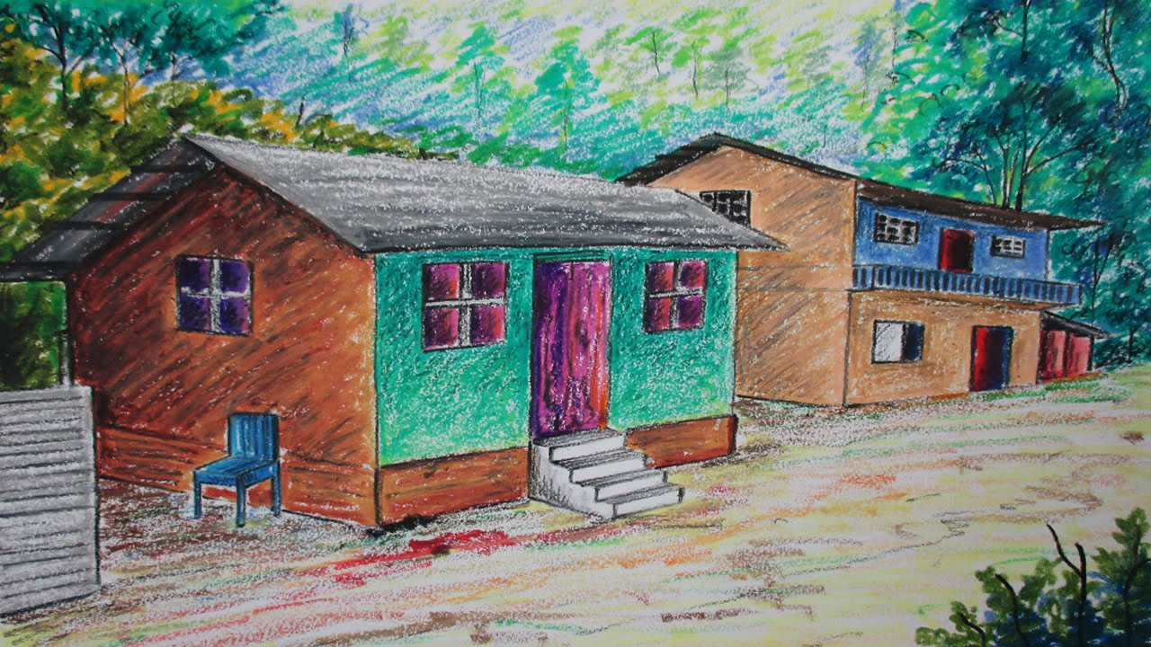 How To Draw A Forest House Landscape In Oil Pastel   YouTube