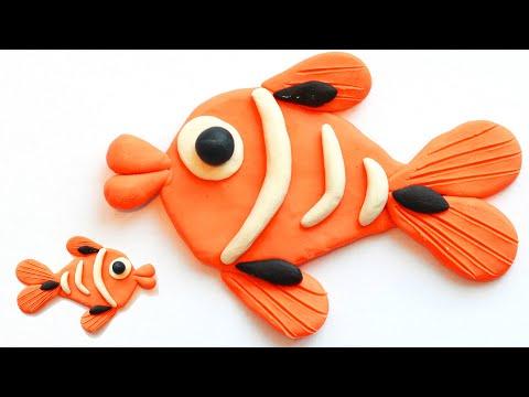 Лепка из пластилина. Как слепить рыбку быстро и просто. Веселая рыбка