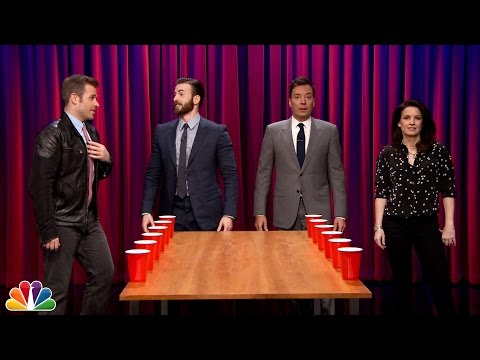 Team Flip Cup with Chris and Scott Evans vs. Jimmy and Gloria Fallon
