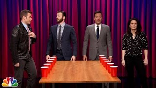 Team Flip Cup with Chris and Scott Evans vs Jimmy and Gloria Fallon