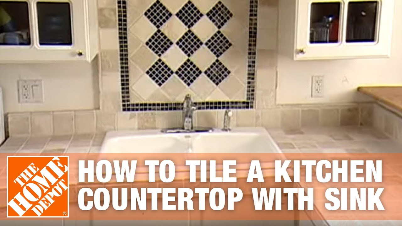 how to tile a kitchen countertop with sink part 1 the home depot